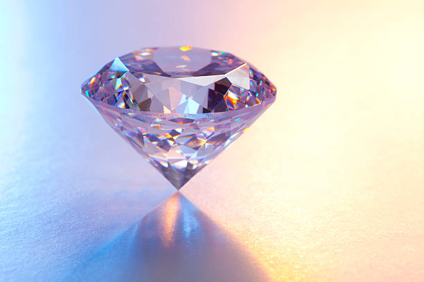 Large Diamond on Reflective Surface stock photo