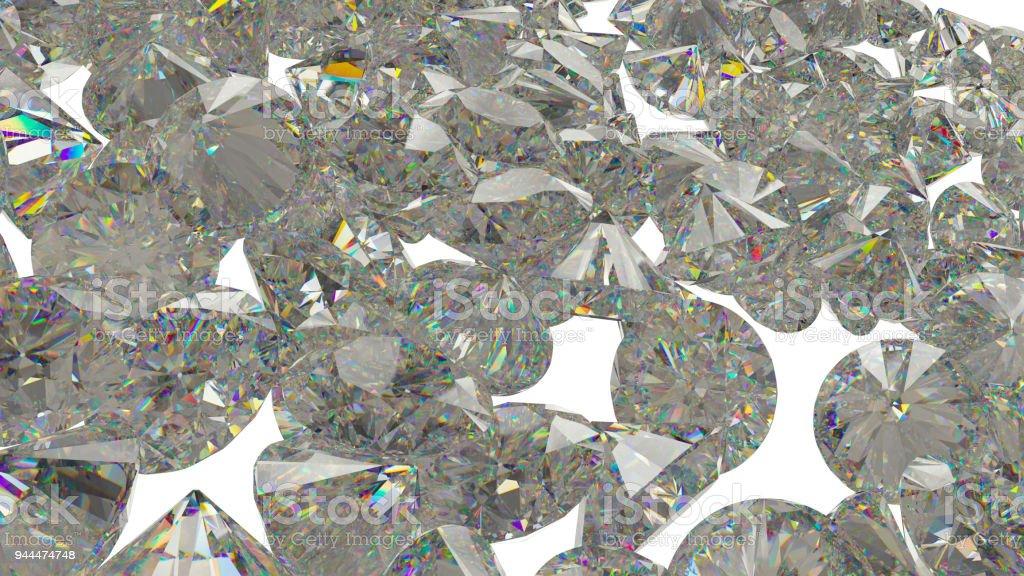 Large Diamonds and gemstones isolated on white background stock photo