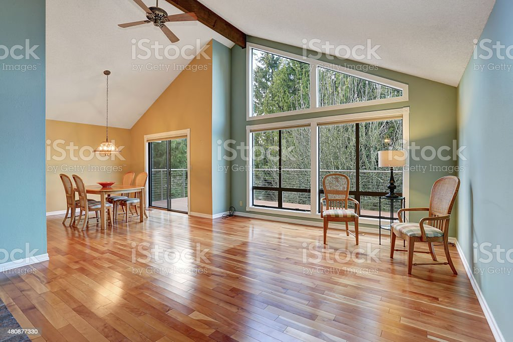 large dinning area with hardwood floor. stock photo