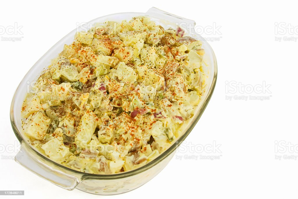 Large Dish of Mustard Potato Salad Isolated on White royalty-free stock photo