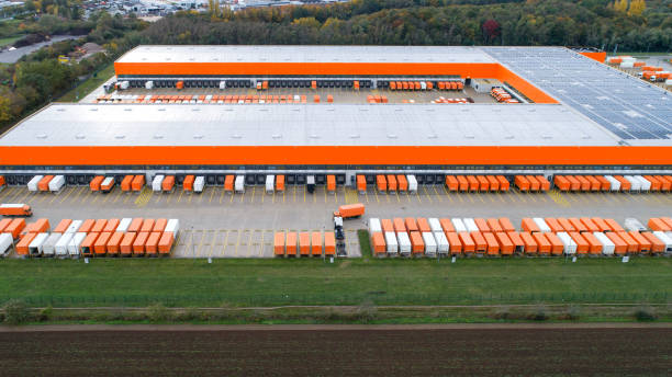 Large distribution hub - aerial view stock photo