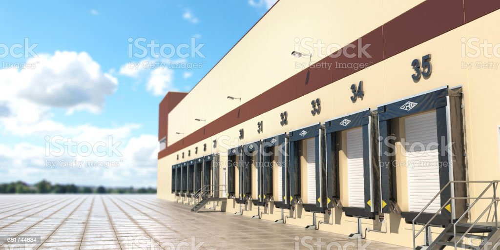A Large distribution warehouse with gates for loading goods. 3d illustration stock photo