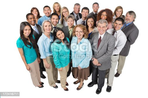 istock Large diverse group of business people; isolated on white 172416711