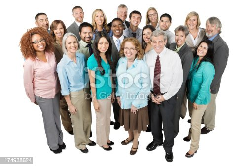 istock Large diverse group of business people; isolated on white 174938624