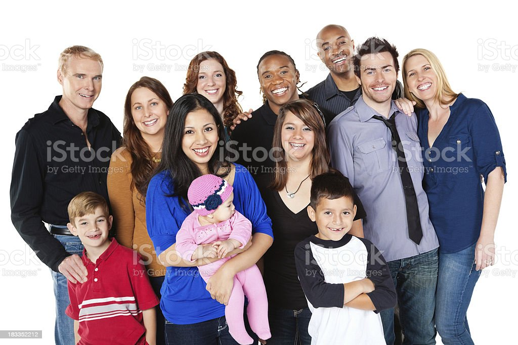 Large Diverse Group of Happy People, Isolated on White royalty-free stock photo