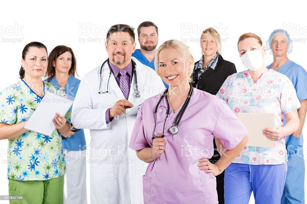 Large diverse medical team of professionals royalty-free stock photo