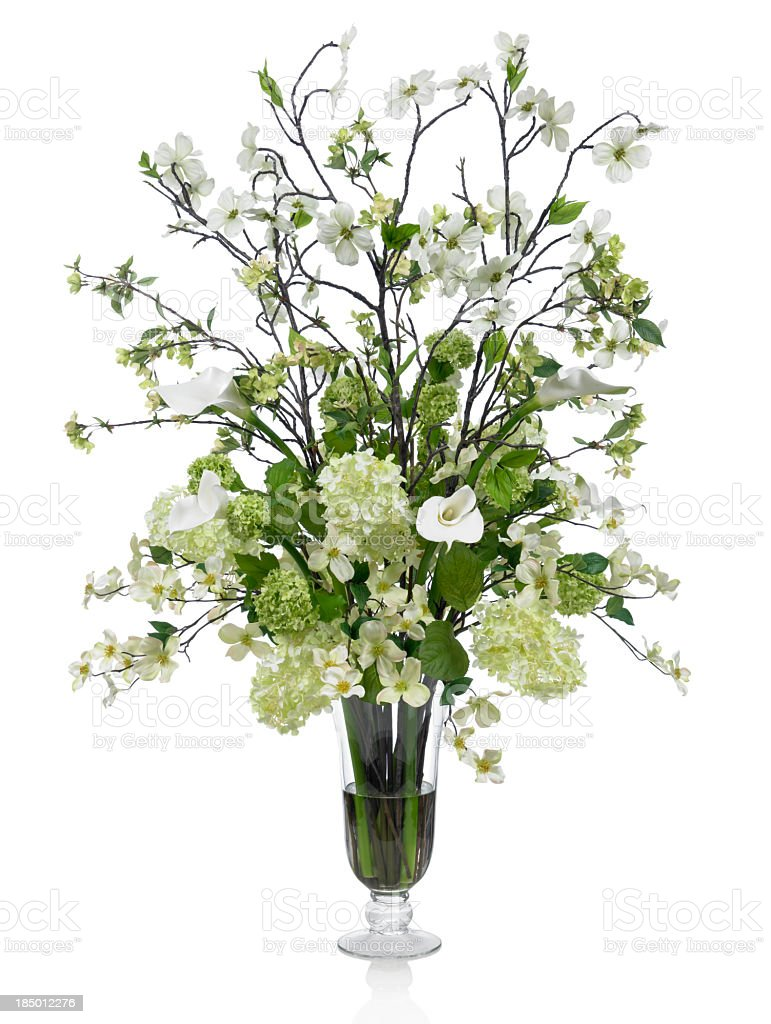 Large Dogwood And Calla Lily Bouquet On White Background Stock Photo