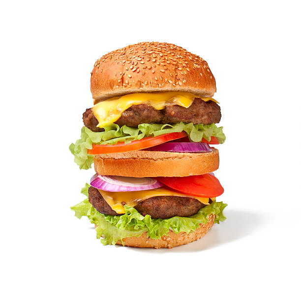 large double cheeseburger stock photo