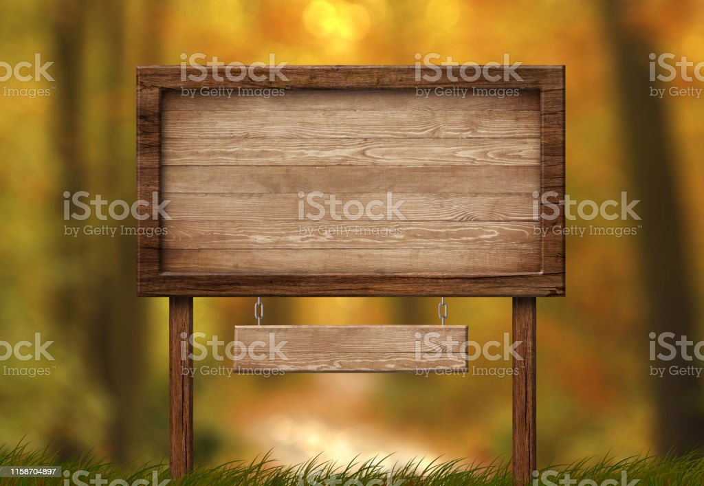 Large empty double signboard with wood frame and autumn forest...