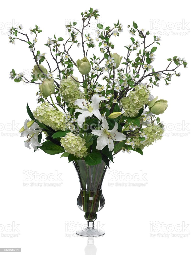 Large Dramatic Spring Bouquet with white background royalty-free stock photo