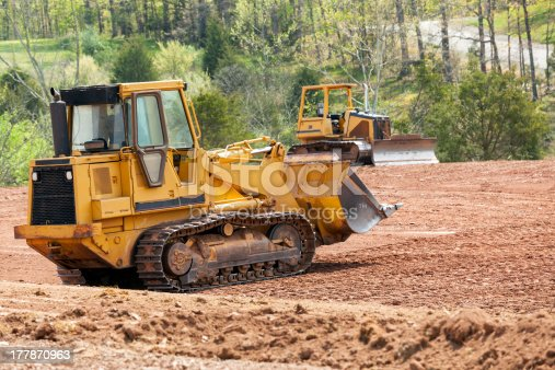 istock Large earth mover digger clearing land 177870963