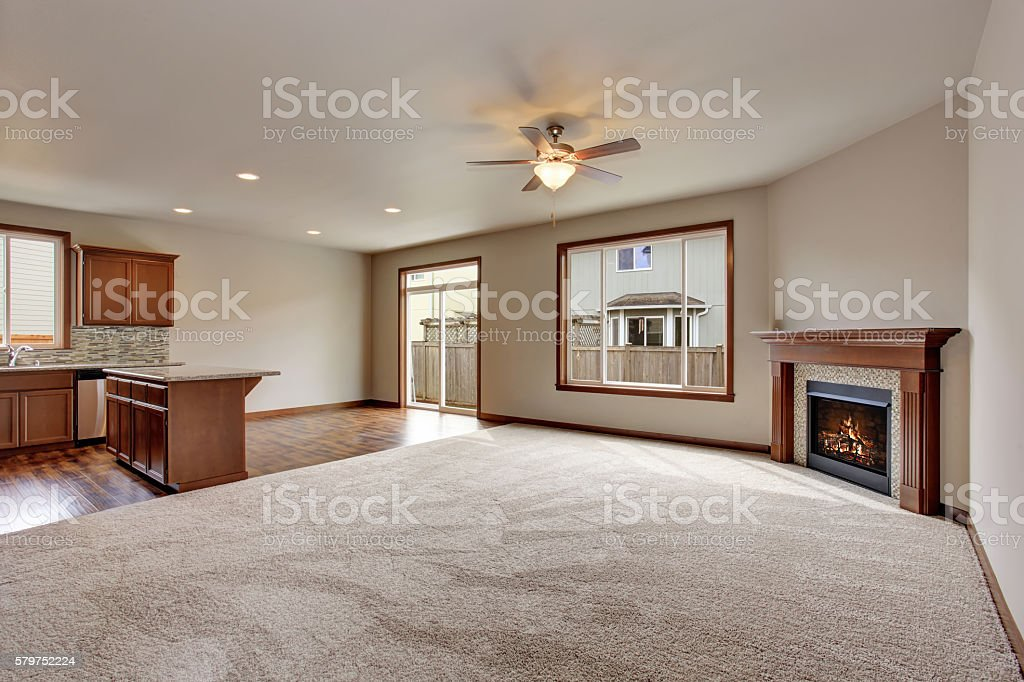 Large Empty Living Room Interior With Carpet Floor And ...