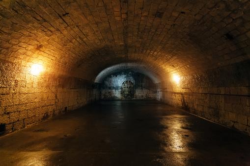 Large empty old dark underground vaulted cellar