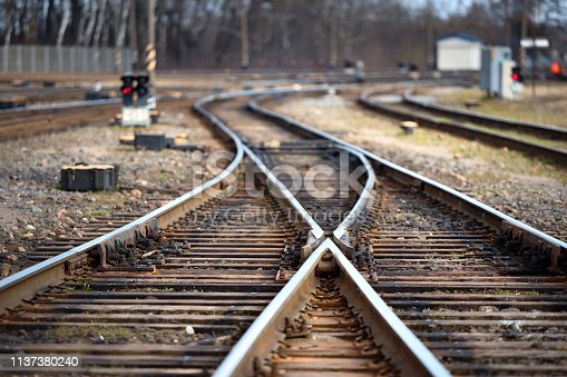 Large empty railroad fork. Concept of industrial logistic and transportation background with selected focus on center point and copy space.