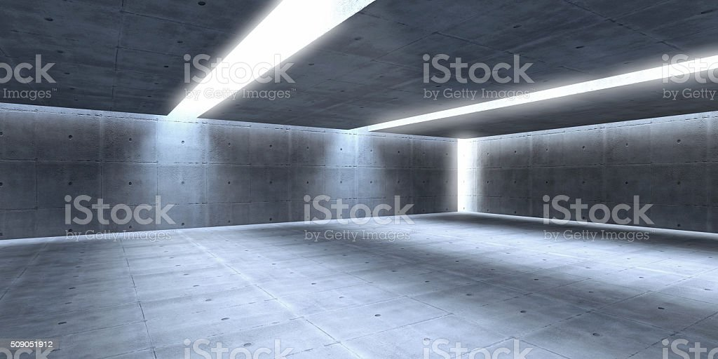 Large empty space with concrete walls, modern abstract style stock photo