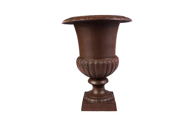 large, empty, terracotta pot isolated on white - blumentopf groß stock-fotos und bilder