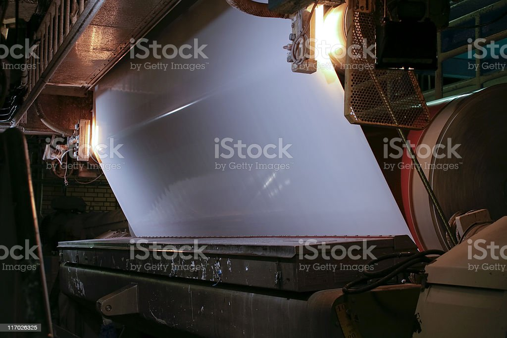 Large equipment inside a paper and pulp mill stock photo