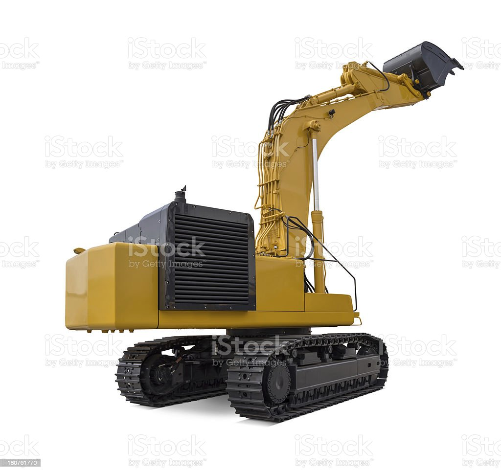 "Large Excavator ""New, yellow and large excavator, isolated on white background."" Building - Activity Stock Photo"
