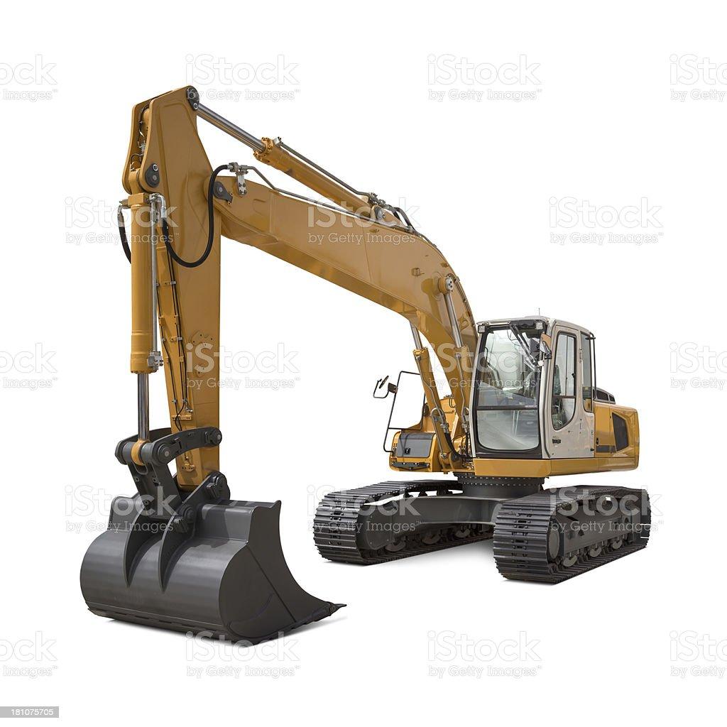 Large Excavator New, yellow and large excavator, isolated on white background. Building - Activity Stock Photo