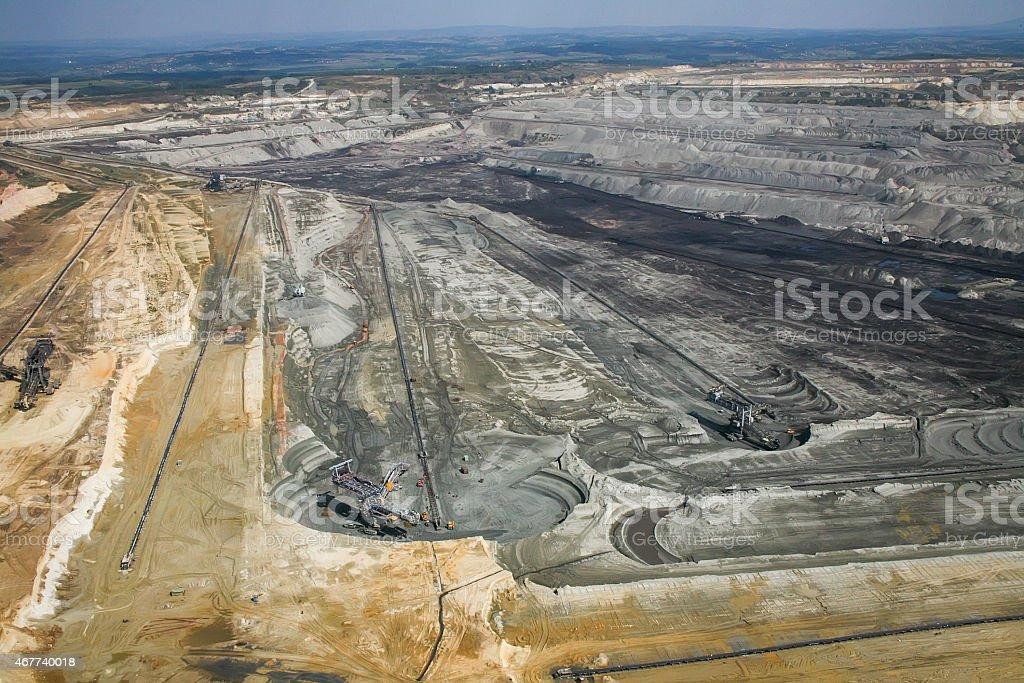 Large excavators in coal mine, aerial view stock photo