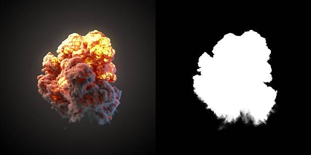 large explosion with black smoke in dark 3d rendering - feuerkugel stock-fotos und bilder