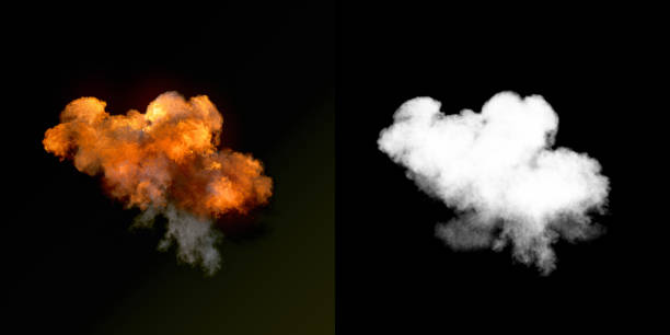 Large explosion with black smoke in dark plus alpha channel. 3d rendering Large explosion with black smoke in dark with alpha channel. 3d rendering pyrotechnic effects stock pictures, royalty-free photos & images