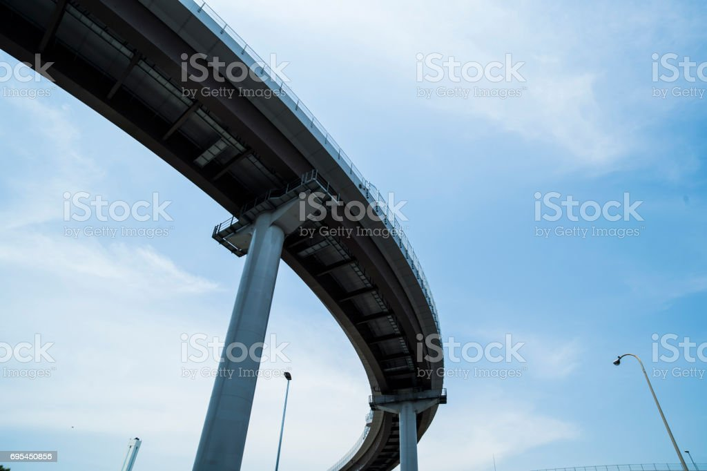 Curved quiet highway, and blue sky.