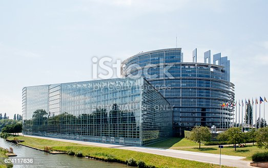 istock Large facade of the European Parliament in Strasbourg 624117636