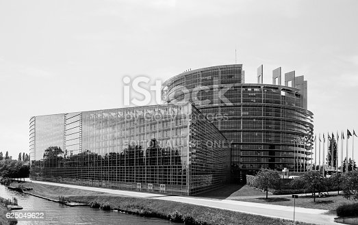 istock Large facade of the European Parliament in Strasbourg 625049622