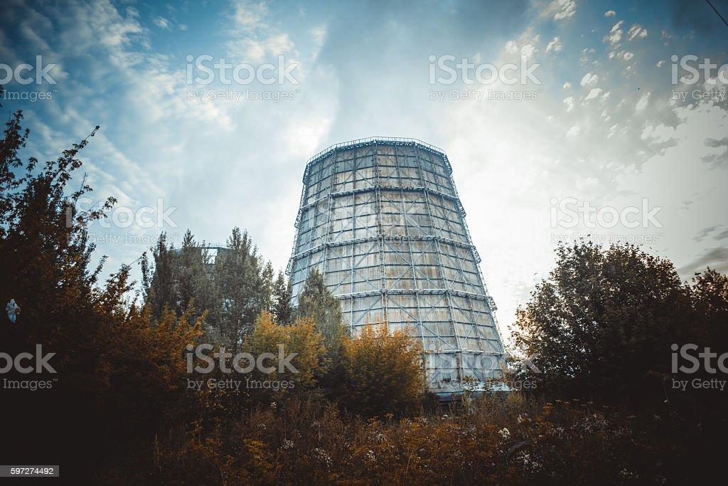 Large factory chimney of slate stock photo