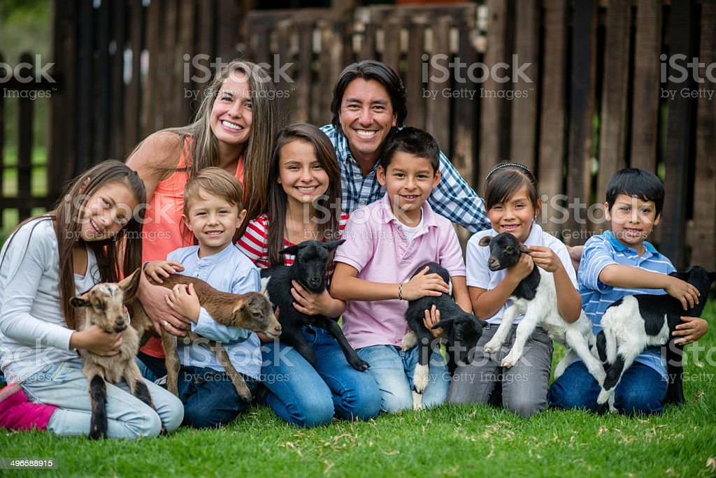 Large family at an animal park stock photo