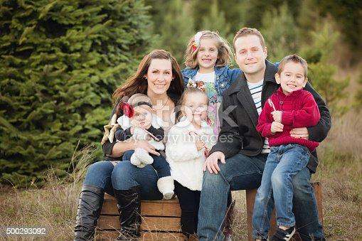 Large Family Christmas Card Photo In Christmas Tree Farm ...