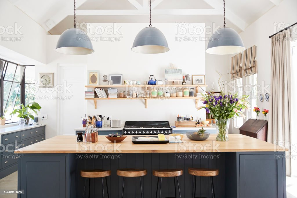 Large family kitchen in period conversion house, straight on stock photo
