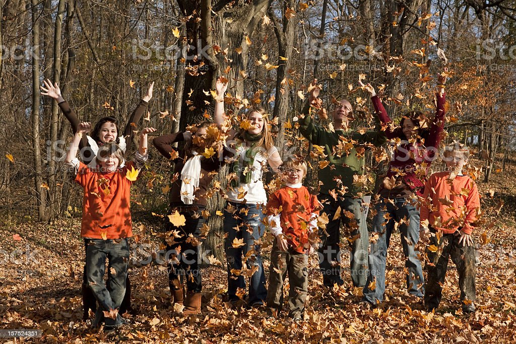Large Family Playing in the Autumn Leaves stock photo