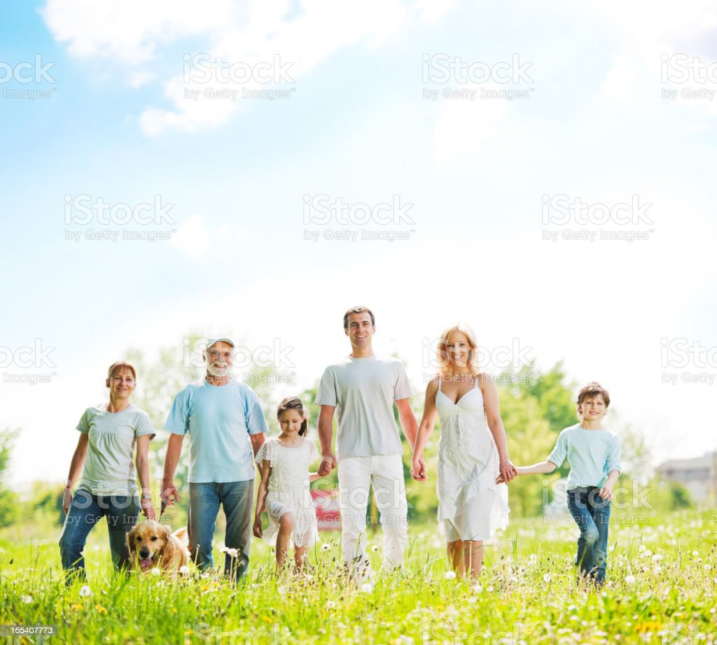 Large family with grandparents taking a walk in park. royalty-free stock photo