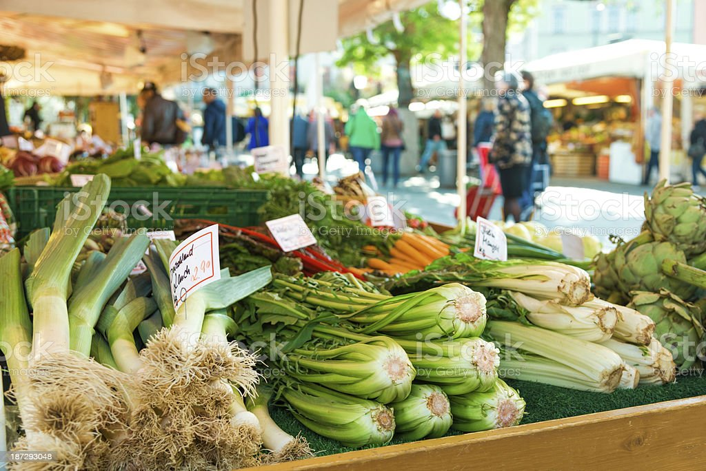 large farmer's market in Munich, Germany stock photo