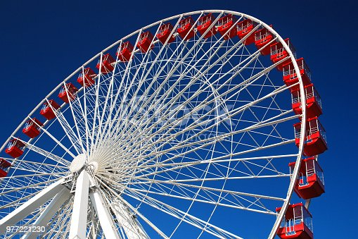 The Ferris wheel at Navy Pier in Chicago is over 200 feet tall.
