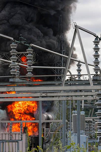 Feuer in elektrischen Substation – Foto