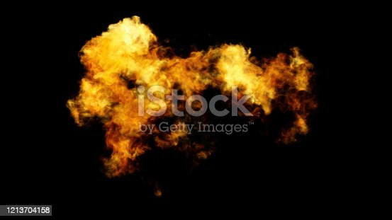 998287586 istock photo Large Fire Flame Isolated On Black Background 1213704158