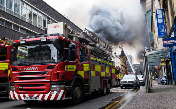Large fire in the Glasgow city center at Sauchiehall Street in Glasgow, United Kingdom stock photo