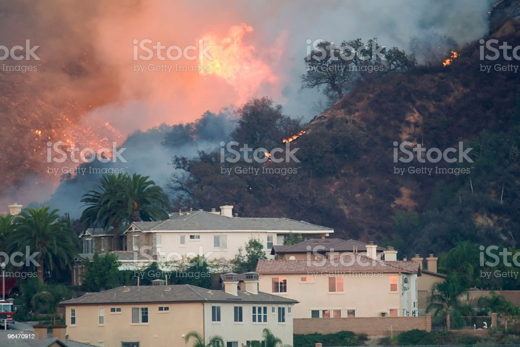 Large Fire Overtaking California Homes royalty-free stock photo