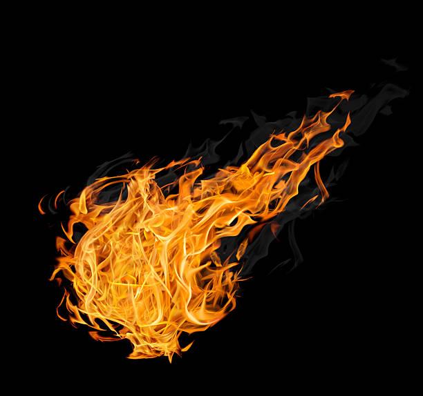 großen feuerball mit rauch auf schwarz - feuerkugel stock-fotos und bilder