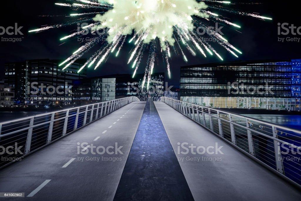 Large firework explosion stock photo