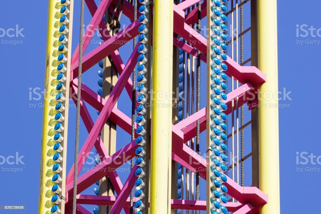 large flying carousel ride machine detail stock photo