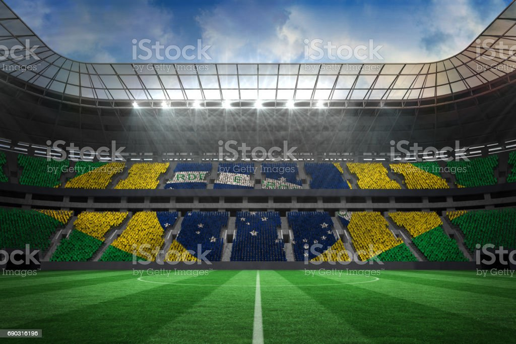 Large football stadium with brasilian fans stock photo