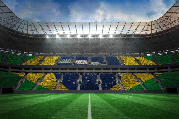 Estádio de futebol grande com fãs brasileiros - foto de acervo