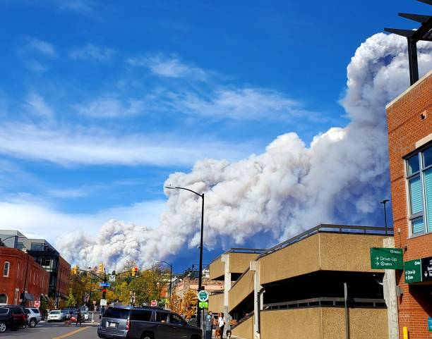 Large forest fire near Boulder, Colorado stock photo