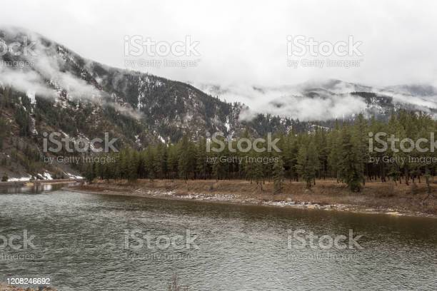 Photo of Large forest lining shore along calm river with snow and fog covered mountain in distance