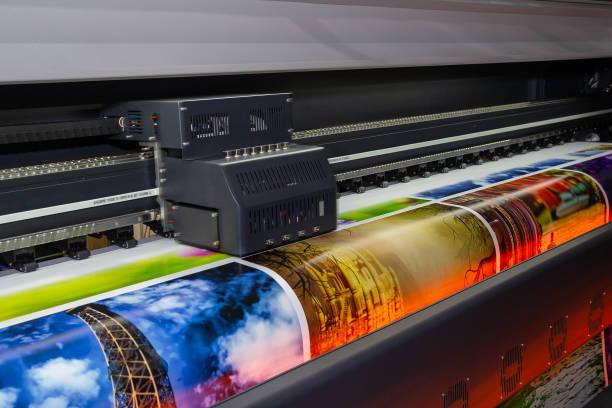 작업에 큰 체재 인쇄 기계입니다. 산업 - 대형 뉴스 사진 이미지