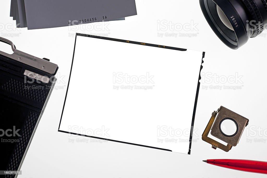Large format slide on lightbox stock photo